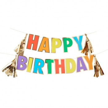 guirlande rainbow happy birthday