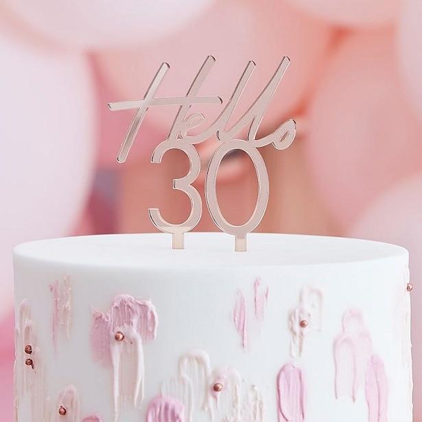 cake topper 30 ans rose gold