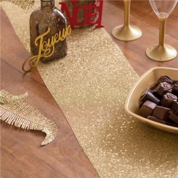 chemin de table à paillettes en or