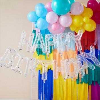 ballon happy birthday a confettis