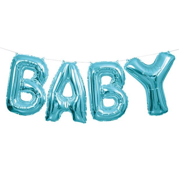 ballons de lettres baby en bleu