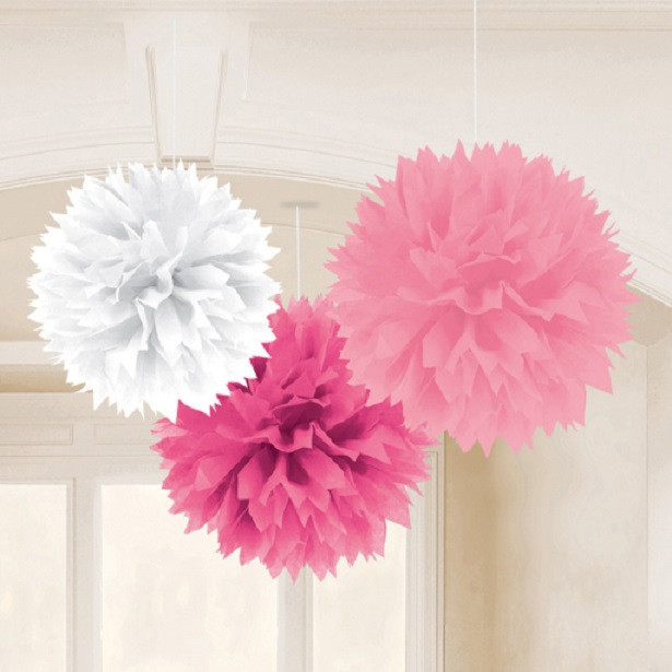 Pompons rose décoration de fête rose à suspendre