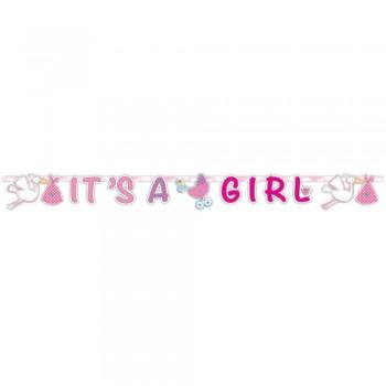 Guirlande cigogne rose c'est une fille