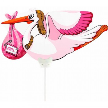Mini ballon cigogne rose