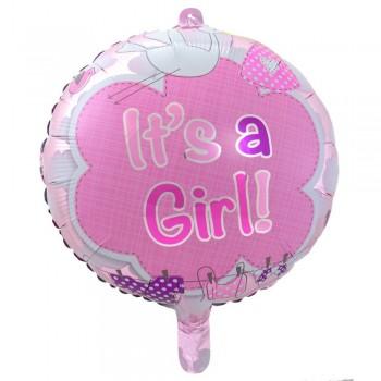 Ballon cigogne rose c'est une fille pour baby shower fille