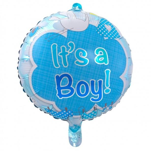 Ballon cigogne bleu c'est un garçon pour fête prénatale