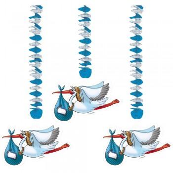 Décorations en spirale cigogne bleu