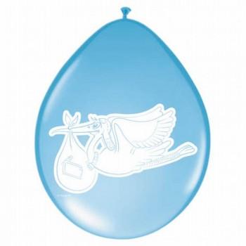 Ballons cigogne bleu baby shower garçon