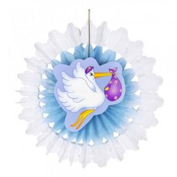 Décoration éventail cigogne bleu baby shower