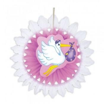 Décoration éventail cigogne rose baby shower fille