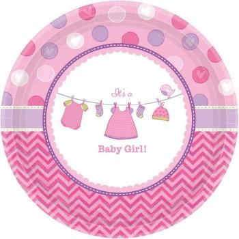 Assiettes baby shower rose fille assiettes fête prénatale rose fille