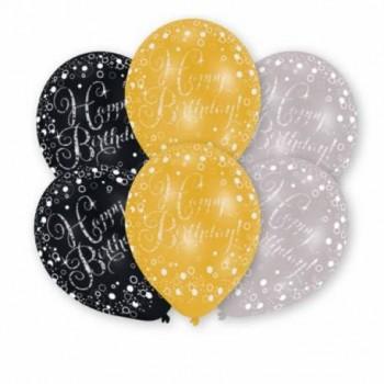 Ballons joyeux anniversaire gris noir or