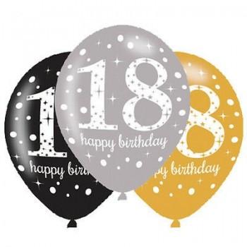 Ballons latex 18 eme anniversaire