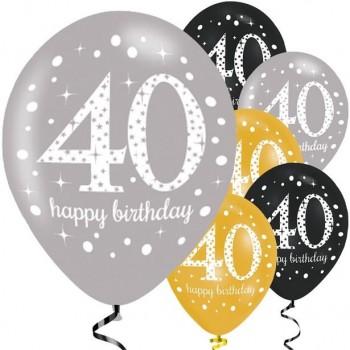 Ballons 40 eme anniversaire gris noir et or