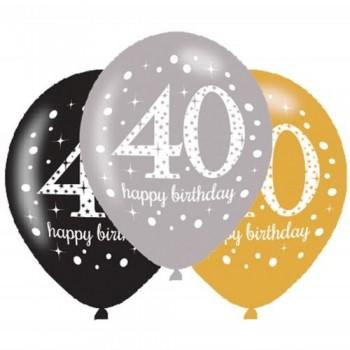 Ballons en latex 40 ans anniversaire
