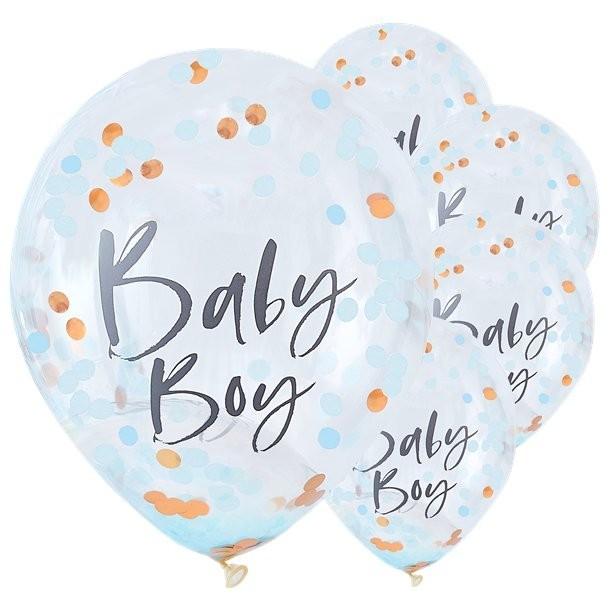 Ballons à confettis garçon baby shower
