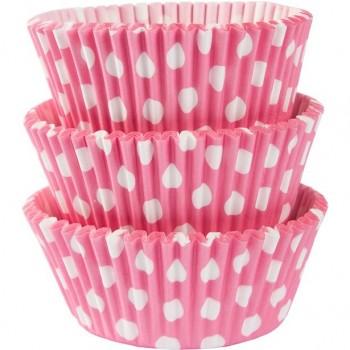 Moule à cupcakes et muffins couleur rose à pois
