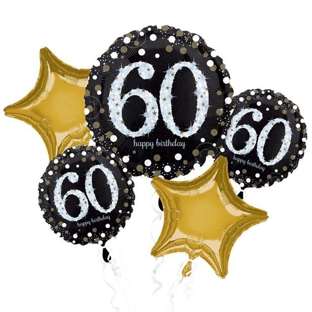 Bouquet de ballons aluminium anniversaire 60 ans