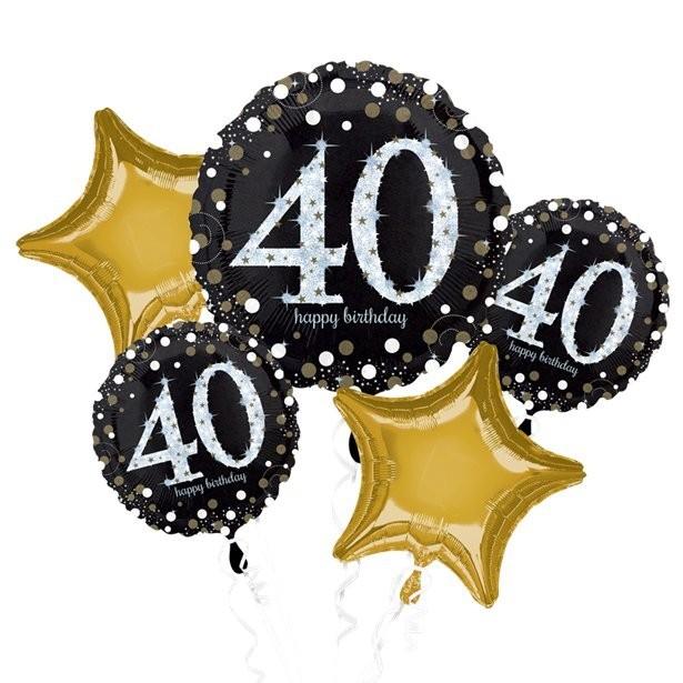Bouquet de ballons anniversaire 40 ans aluminium