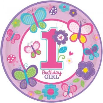 Assiettes premier anniversaire fille