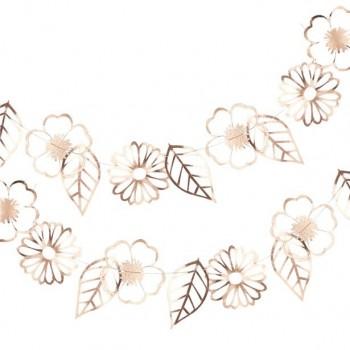 Guirlande de fleurs dorées et roses