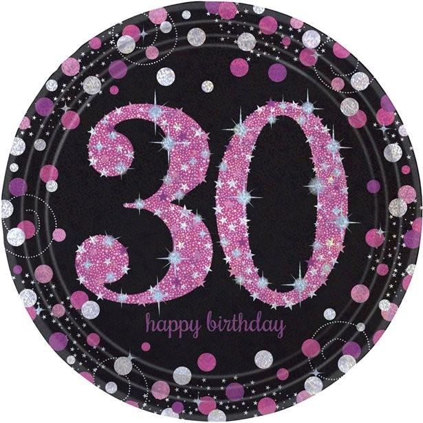assiettes roses anniversaire 30 ans