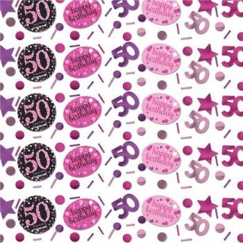 CONFETTIS 50 ANS ANNIVERSAIRE ROSE