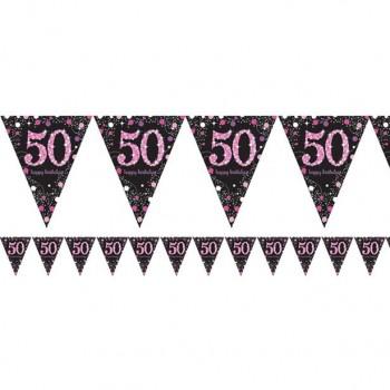 guirlande anniversaire 50 ans rose