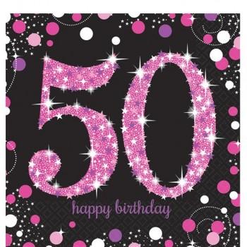 serviettes anniversaire 50 ans rose