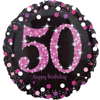 ballon anniversaire 50 ans rose
