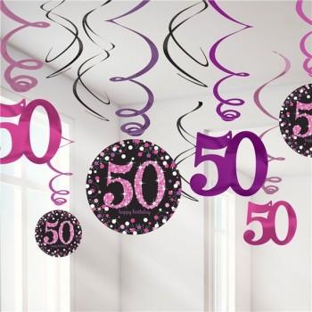 suspensions 50 ans anniversaire rose
