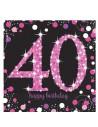 serviettes anniversaire 40 ans rose