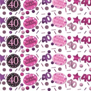 confettis anniversaire 40 ans rose