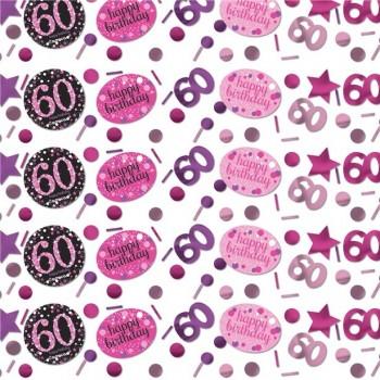 confettis anniversaire 60 ans rose