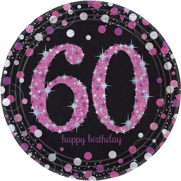 Assiettes roses anniversaire 60 ans