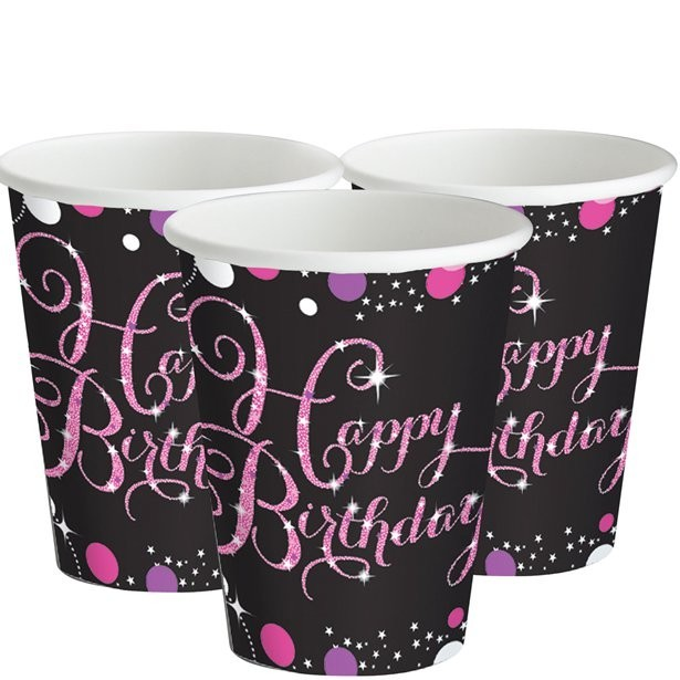 gobelets anniversaire rose chic