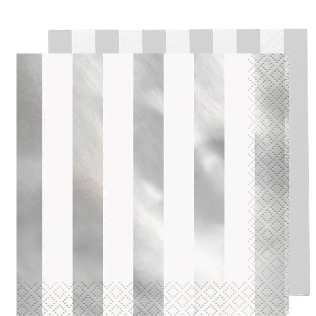 serviettes a rayures métalliques argent