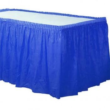 jupe de table en plastique bleu royal