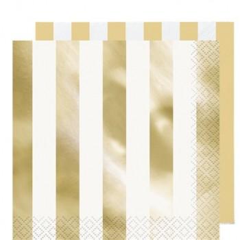 serviettes a rayures dorées métallises