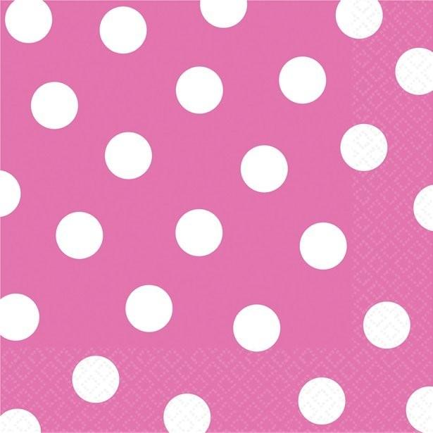 serviettes en papier à pois rose vif
