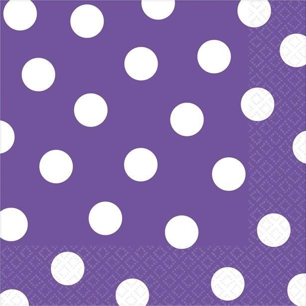 serviettes en papier a pois violet