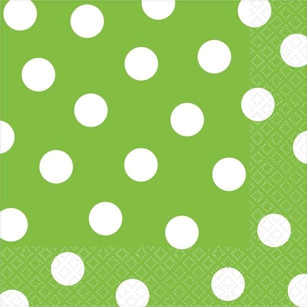serviettes en papier à pois vert lime