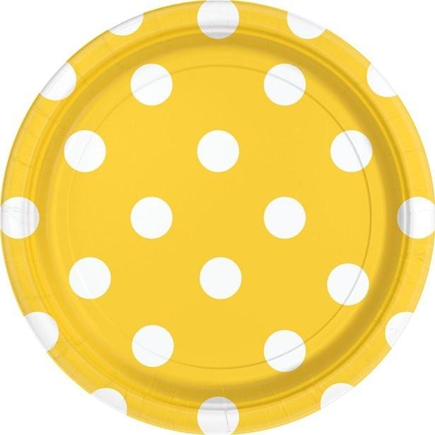 assiettes de fête à pois jaune