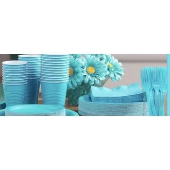 vaisselle de fête turquoise en plastique sur www.bellefete.ch en Suisse
