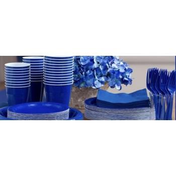 vaisselle de fête bleu royal en plastique sur www.bellefete.ch en Suisse