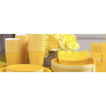 vaisselle de fête jaune en plastique sur www.bellefete.ch en Suisse