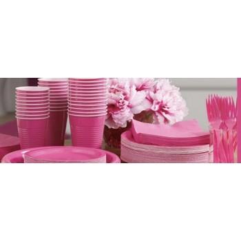 vaisselle de fête rose vif en plastique sur www.bellefete.ch en Suisse