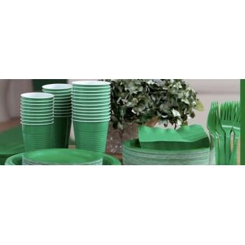vaisselle de fête vert en plastique sur www.bellefete.ch en Suisse