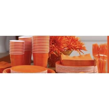 vaisselle de fête orange en plastique sur www.bellefete.ch en Suisse