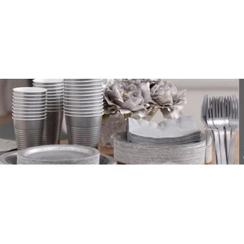 vaisselle de fête argentes en plastique sur www.bellefete.ch en Suisse